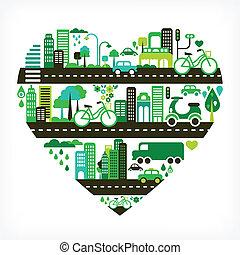 심혼 모양, 녹색, 도시