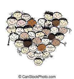 심혼 모양, 사람, 디자인, 너의, 행복하다