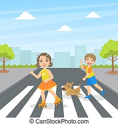 십자가, 아이들, 귀여운, 거리, 개, 키드 구두, 거리, 을 사용하여, 벡터, 걷다, 걷기, 삽화