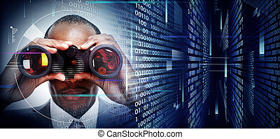 쌍안경, techno, 배경, 남자