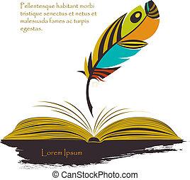 쓰기 펜, 책, 깃털, 다색이다, 열려라