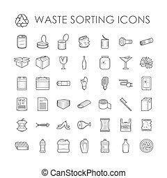 쓰레기, 관계가 있다, 낭비, 분리, 세트, 재활용, 아우트라인, 분류, icons.
