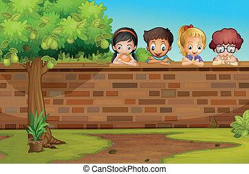 아래로 보는, 아이들, 벽
