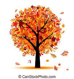 아름다운, 가을, 디자인, 나무, 너의