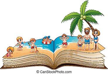 아름다운, 그룹, 사람, 해변 휴가, 열대적인, 책, 열려라