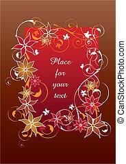 아름다운, 꽃의, 구조, 빨강