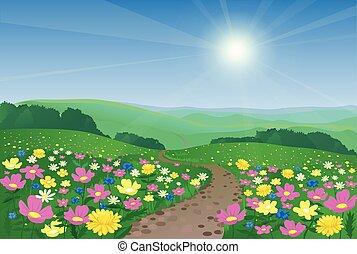 아름다운, 꽃, 조경술을 써서 녹화하다