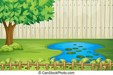 아름다운, 나무, 조경술을 써서 녹화하다, 연못
