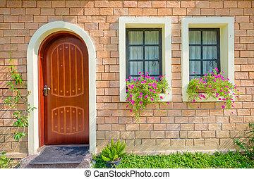 아름다운, 늙은, 밖의 집, 현관
