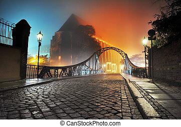 아름다운, 도시, 오래되었던 다리, 밤, 보이는 상태