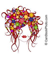 아름다운, 머리, 소녀, 꽃