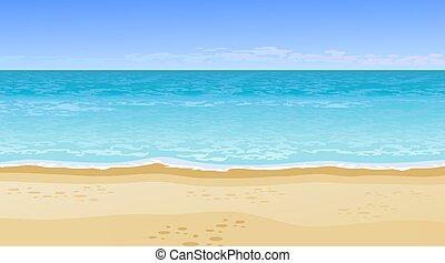 아름다운, 바다, 실감나는, 보이는 상태
