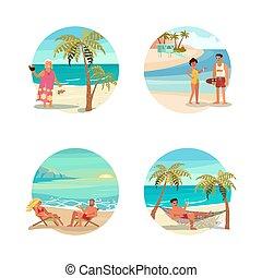 아름다운, 바닷가 장면, 꿈, 둥근, design.