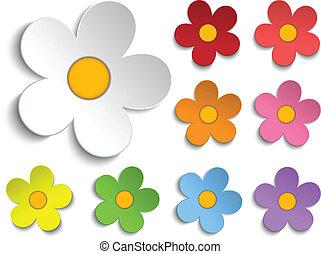 아름다운, 세트, 봄, 수집, 9, 꽃