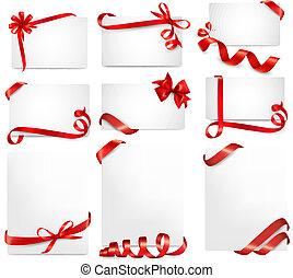 아름다운, 세트, 선물, 활, 벡터, 카드, 리본, 빨강