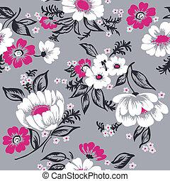 아름다운, 세트, -, seamless, 벡터, 디자인, 배경, 꽃의, 스크랩북, 너의