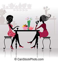 아름다운 소녀, 카페, 실루엣