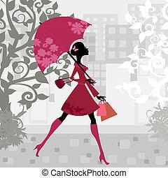 아름다운 여성, 우산