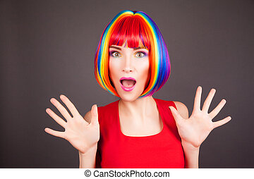 아름다운, 입는 것, 여자, 다채로운, 가발