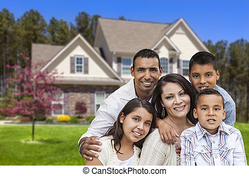 아름다운, 집, 정면, 가족, hispanic하다