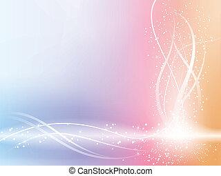 아름다운, 파스텔, 은 주연시킨다, 배경, swirls.