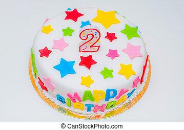 아름다운, 형태, 크게, 2, 생일 초, 케이크, 행복하다
