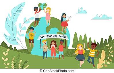 아이들, 녹색, 사람, 남성, 여성, 행성, 그룹, 만화, 거의, 환경, 성격, 벡터, 아이, 체재, illustration., 개념, 아이, 모아두다, 작은, world.