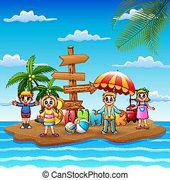 아이들, 여름, 행복하다, 섬, 휴가