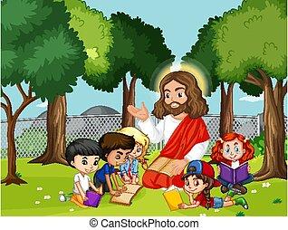 아이들, 예수, 공원