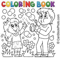 아이들, 채색, 거품, 책, 연장 상자