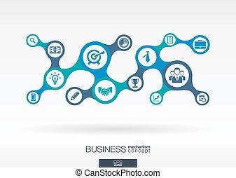 아이콘, 떼어내다, business., 성장, 접속된다, 배경, metaball, 은 통합했다