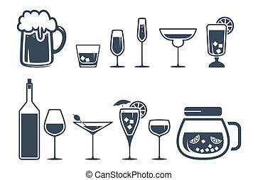 아이콘, 마실 것, 알코올, 세트, 마실 것