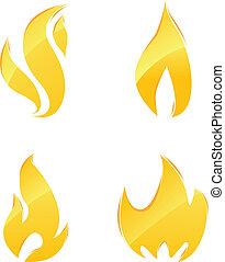 아이콘, 불, 광택 인화
