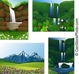 아이콘, 세트, 구조, 아름다운, 풍경