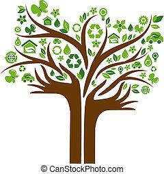 아이콘, 손, 나무, 2, 생태학의