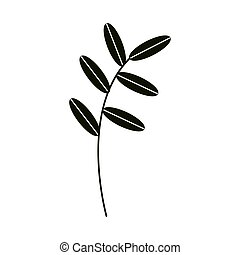 아이콘, 잎, 자연, 가지, 실루엣, 장식적이다, 스타일