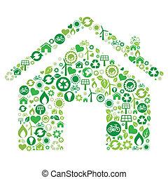 아이콘, 집, 녹색
