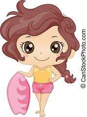 아이, skimboard, 소녀, 삽화