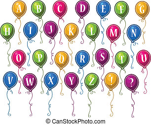 알파벳, 생일, 기구, 행복하다