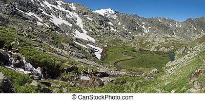 알프스 산맥, 눈, 봄, 녹색, 은 불렀다, 여름, 시내, 산, 티롤, 길게 나부끼다, 오스트리아, 하이킹, 파노라마, 지나치게 수식적인, 아름다운, 모자를 씌우는, paradies, 활강의, 보이는 상태, 목초지, 풀, peaks., stubai, wetland