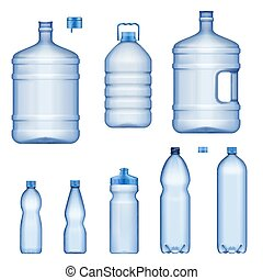 액체, 병, 플라스틱, 물, 실감나는, 컨테이너