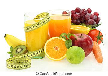 야채, 규정식, 주스, 과일, 신선한, nutrition.