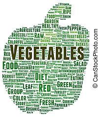 야채, 낱말, 모양, 구름