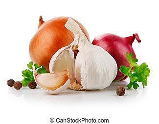 야채, 마늘, 파슬리, 양파, 향신료