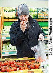 야채, 상점, 선택하는, 슈퍼마켓, 남자