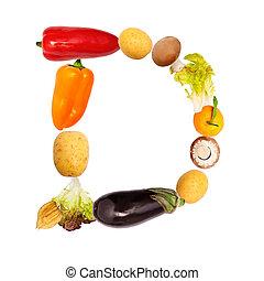 야채, 여러 가지이다, d, 편지, 과일