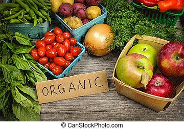 야채, 유기체의, 시장, 과일