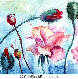 양귀비, 장미, 그림, 수채화 물감, 꽃