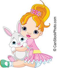 어린 소녀, 고수하는 것, 장난감, 토끼