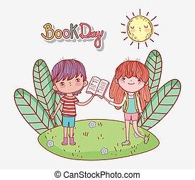 어린 소녀, 책, 소년, 열려라, 공원